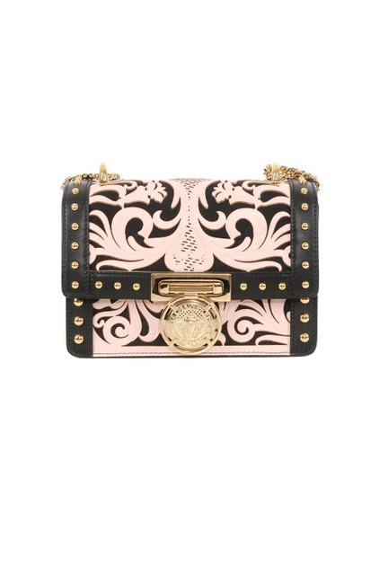 Item - Gold Studded Pink & Black Leather Cross Body Bag