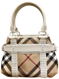 Burberry Luxury Designer Patent Leather Tote in white