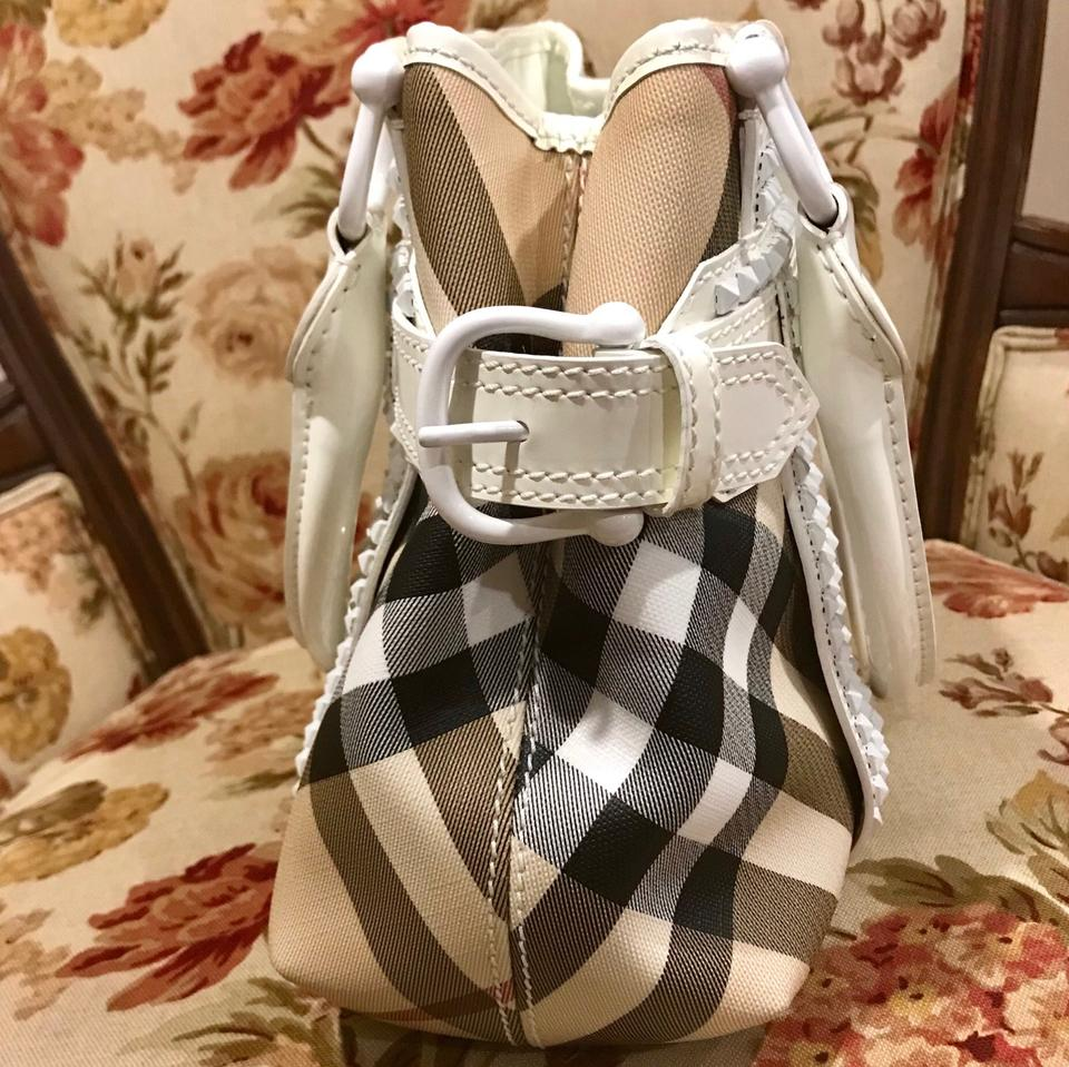 10df42a216ce Burberry Rachel Nova Check Canvas White Patent Leather Tote - Tradesy