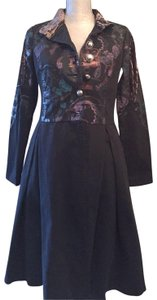 Custo Barcelona Embroidered Applique Swing Trench Coat