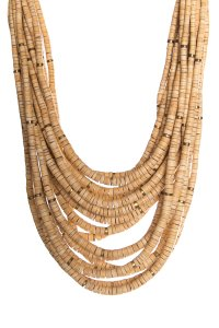 Monies Natural Multi-Strand Bead & Brass Station Necklace