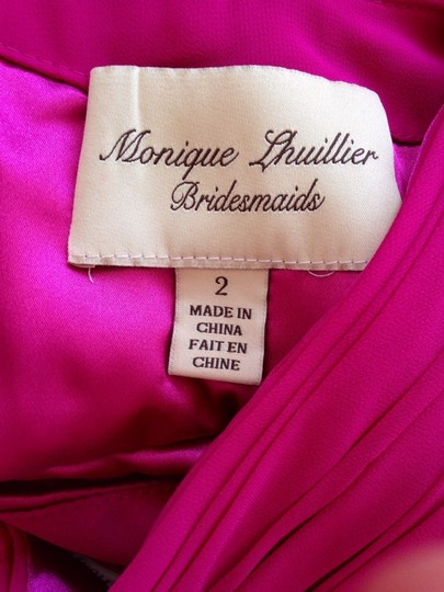 Monique Lhuillier Fuschia Chiffon One-shoulder 450024 Feminine Bridesmaid/Mob Dress Size 2 (XS)