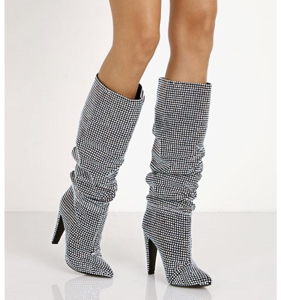 2fcdc7062cc Steve Madden Silver New Crushing Rhinestone Slouchy Bling Boots/Booties  Size US 6 Regular (M, B) 21% off retail