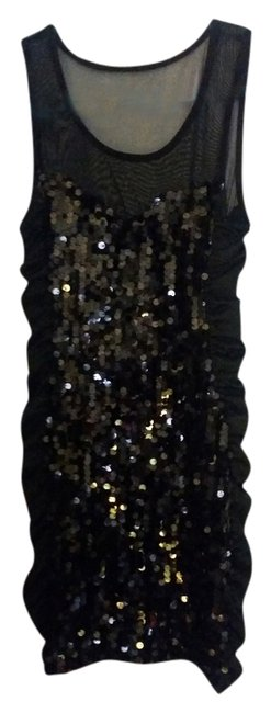 bailey blue Sequin Ruched Mesh Dress