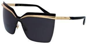 MCM NEW MCM 106S Black Rimless Gold Metal Shield Oversized Sunglasses