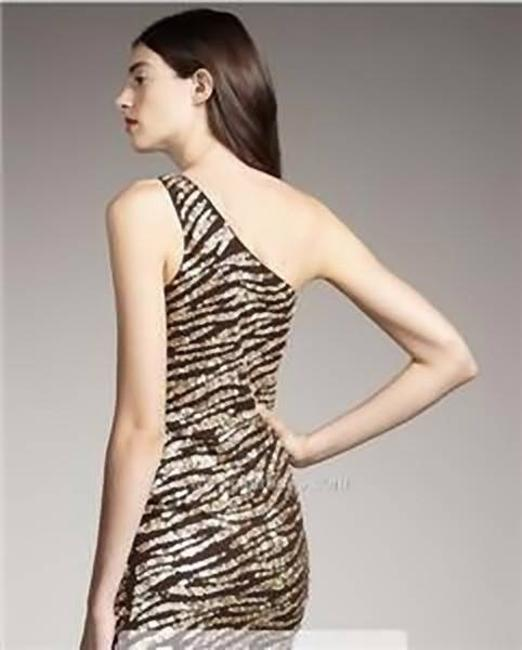 Alice + Olivia Sequin One Shoulder Zebra Dress