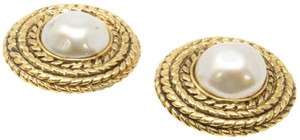 Chanel Vintage Round Pearl Clip-on Braided Rope Earrings