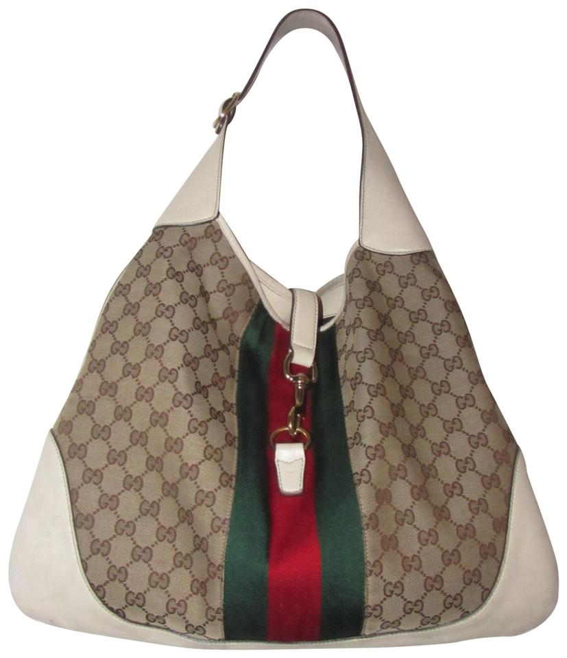 fd8f4c7d988e02 Gucci Jackie Modern Purses/Designer Purses White Leather and Brown Large G  Logo Print Canvas with A Red and Green Center Sherry Stripe Hobo Bag