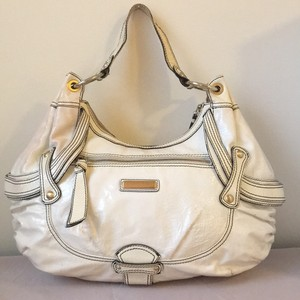 Isabella Fiore Patent Leather Gold Hardware Hobo Bag