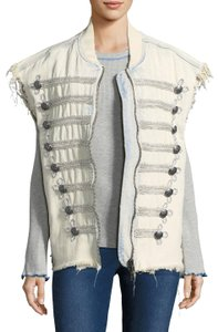 Free People Embroidered Denim Sleeveless Buttons Vest