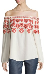 Tory Burch Silk Embroidered Sequin Elastic Longsleeve Top new ivory red