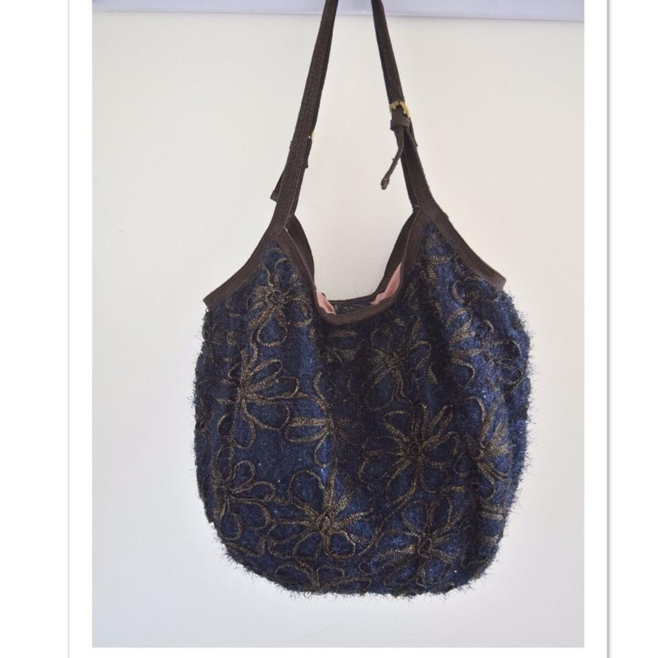 Anthropologie Miss Albright Specialty Navy Blue Brown Chiffon And Suede Hobo Bag Tradesy