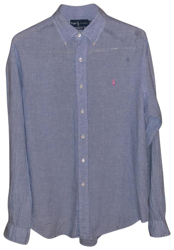 36facf6e36 Polo Ralph Lauren Blue Men s Classic Fit Plaid Oxford Shirt Button-down Top