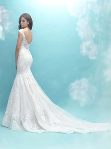 Allure Bridals Champagne | Ivory | Silver Tulle English Net Lace 9471 Feminine Wedding Dress Size 8 (M)