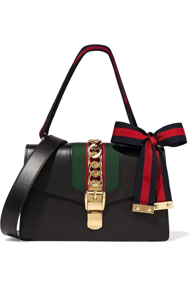 c22b8b9d10b6 Gucci Sylvie - 2 Straps Black with Blue/Red Ribbon Leather Shoulder ...