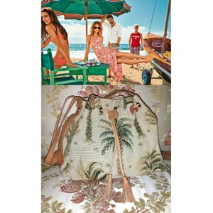 Tommy Bahama Tote in Rich Tan with Tropical Print