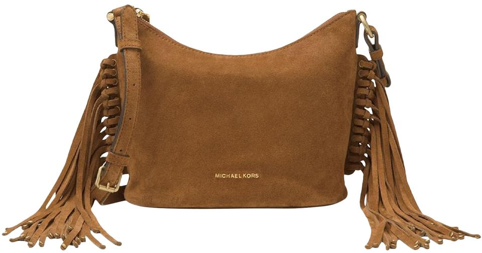 09fa958970dd03 Michael Kors Shoulder Billy Medium Fringe Dark Caramel Brown Suede Leather  Cross Body Bag