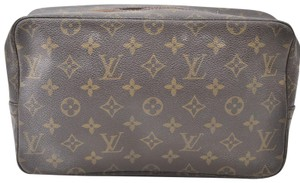 Louis Vuitton Trousse Toilette Pouch Cosmetic Pouch Make Up Brown Clutch