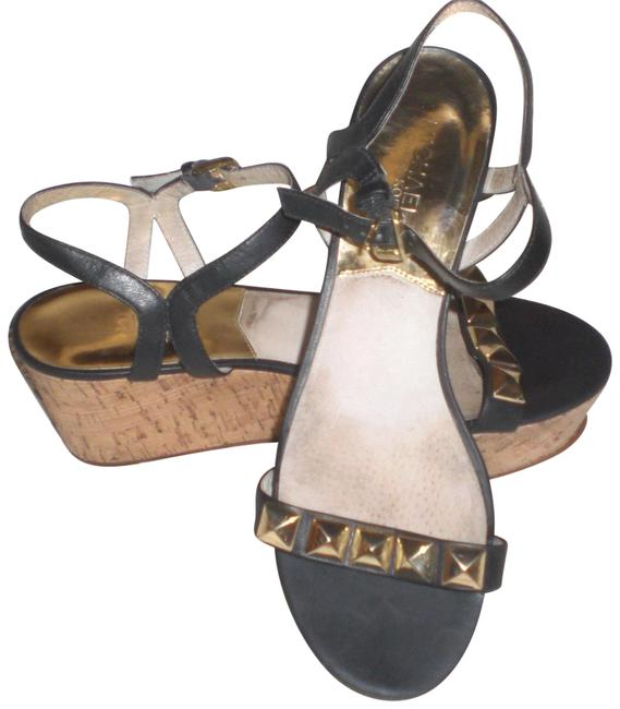 Item - Black with Gold Sandals Studs Wedges Size US 9 Regular (M, B)