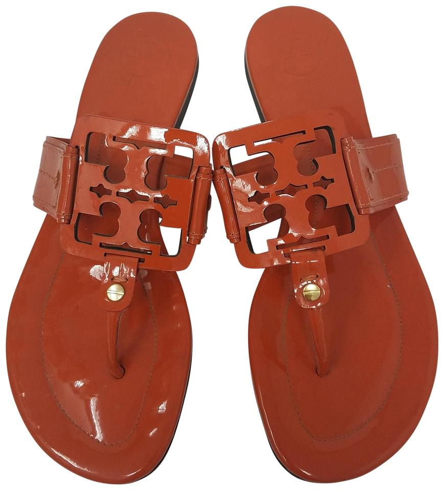 15ccfe606 Tory Burch Orange Gold Patent Leather Miller Sandals Size US 8 ...