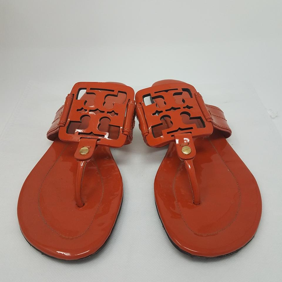 7c643dbec Tory Burch Orange Gold Patent Leather Miller Sandals Size US 8 ...