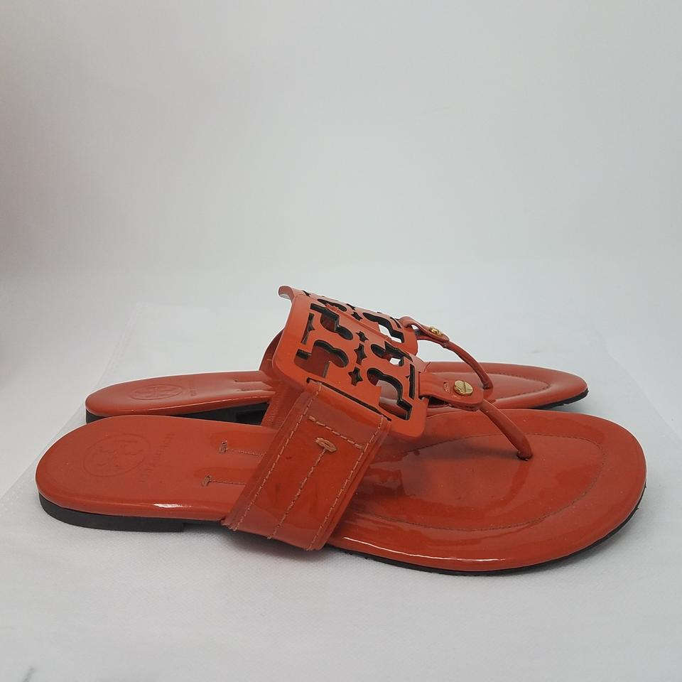 cd62aa6b249b Tory Burch Orange Gold Patent Leather Miller Sandals Size US 8 ...