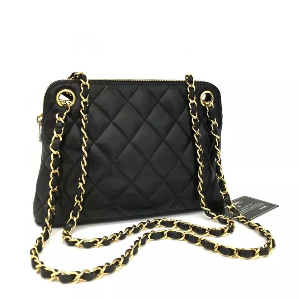 Chanel Quilted Matelasse Cc Logo Lambskin Chain Black Leather Shoulder Bag 7483e2f13e