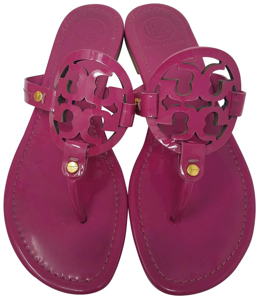 e22b4607aba8 Tory Burch Pink Gold Hibiscus Patent Leather Miller Sandals Size US ...