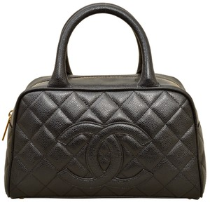Chanel Quilted Caviar Caviar Leather Satchel in Black