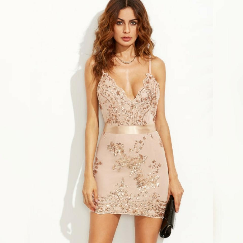 Gold and Nude Glam Embroidered Sequin Short Cocktail Dress Size 12 ...