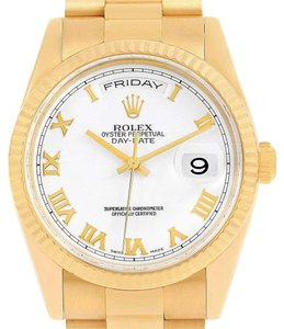 Rolex Rolex President Day Date White Roman Dial Yellow Gold Watch 118238