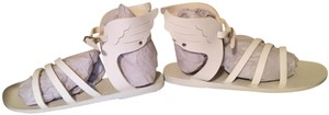 Ancient Greek Sandals Gladiator Wing White Sandals