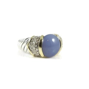 David Yurman David Yurman Sterling Silver 18K Chalcedony Diamond Capri Ring