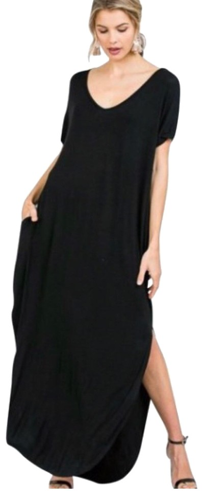 Black 1xl With Pockets Slits Loose Fit V Neck Long Casual Maxi Dress