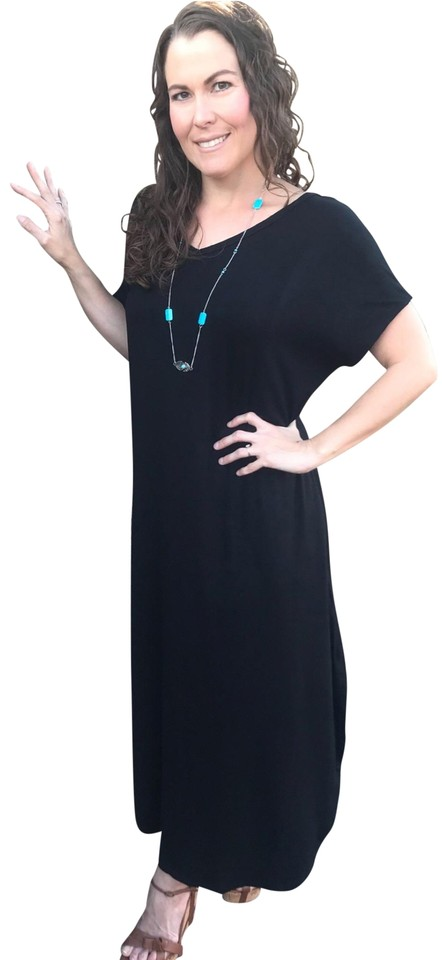 Black 3xl With Pockets Slits Loose Fit V Neck Long Casual Maxi Dress