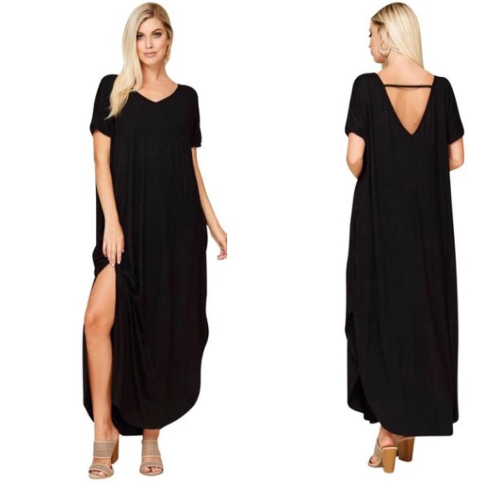 Annabelle Black 3xl with Pockets Slits Loose Fit V Neck Long Casual Maxi  Dress Size 26 (Plus 3x) 49% off retail