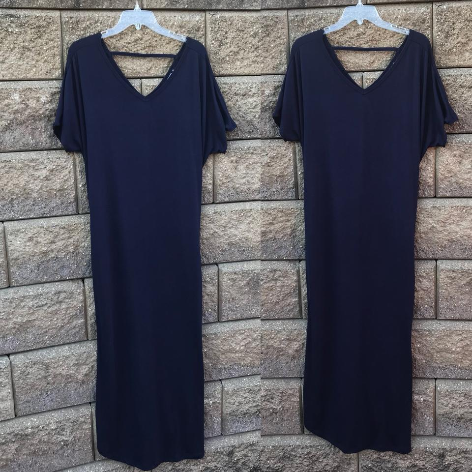 4e01c0b1bfa Annabelle Navy 1xl Blue with Pockets Slits Loose Fit V Neck Long Casual  Maxi Dress Size 20 (Plus 1x) - Tradesy