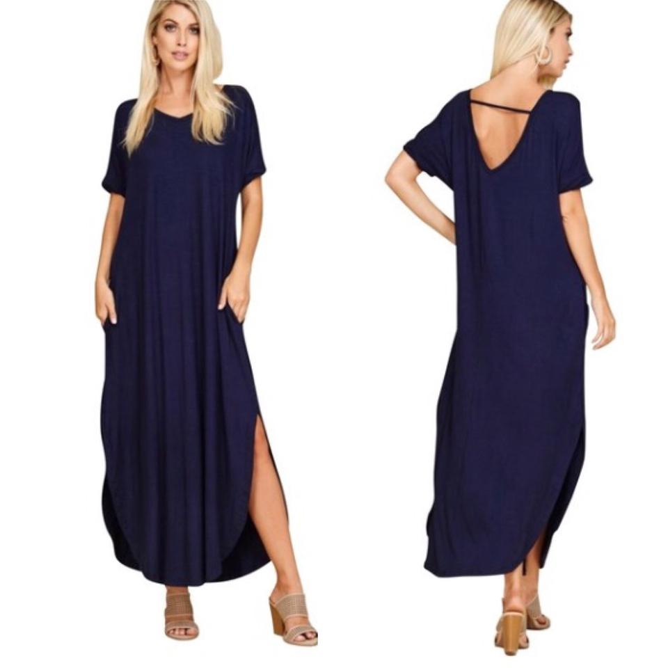 b09396e593 Annabelle Navy 2xl Blue with Pockets Slits Loose Fit V Neck Casual Maxi  Dress. Size  22 (Plus ...