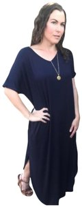 Navy Maxi Dress by Annabelle Short Sleeve With Pockets Summer Plus Size