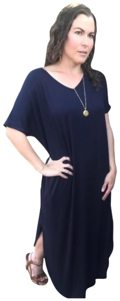 4238e881ed8 Annabelle Navy 3xl Blue with Pockets Slits Loose Fit V Neck Casual Maxi  Dress