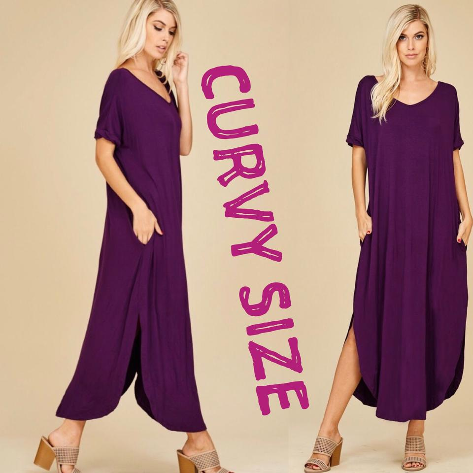 Deep Purple 2xl with Pockets Slits Loose Fit V Neck Long Casual Maxi Dress  Size 22 (Plus 2x) 49% off retail