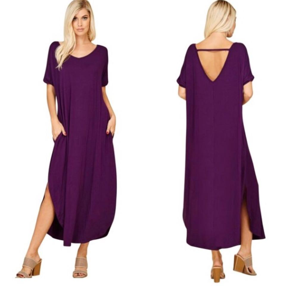 fa4972b2b814b Deep Purple 2xl with Pockets Slits Loose Fit V Neck Long Casual Maxi ...