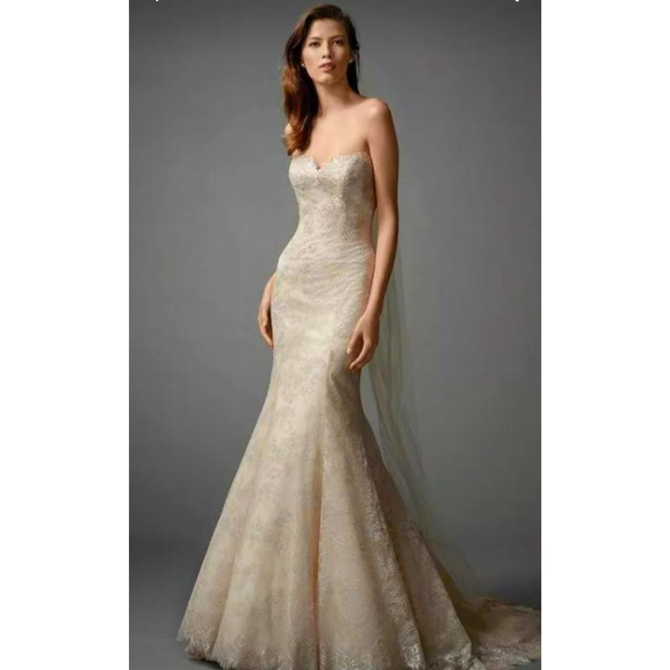 Watters watters bridal champagneoatmeal lace zarrin 7060b formal watters watters bridal champagneoatmeal lace zarrin 7060b formal wedding dress size 10 junglespirit Images