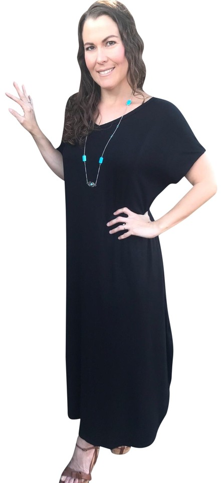 dd32e7b316 Annabelle Black S with Pockets Over Loose Fit Resort Wear Beach Casual Maxi  Dress