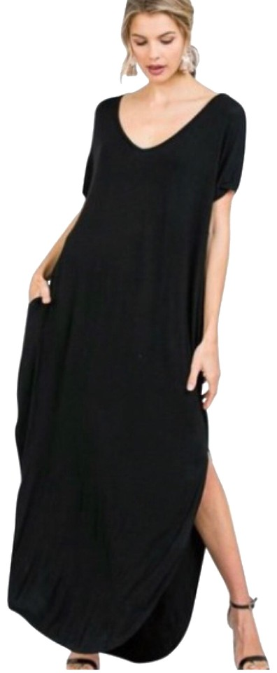 63af9402b6 Black Maxi Dress by Annabelle Short Sleeve Maxi With Pockets Summer Maxi  Maxi Oversized Image 0 ...