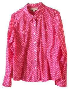 Jones New York Button Down Shirt hot pink with white polka dots