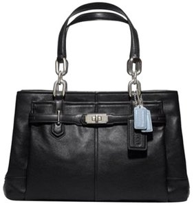 Coach Leather Silver Hardware 3 Compartments Satchel in Black