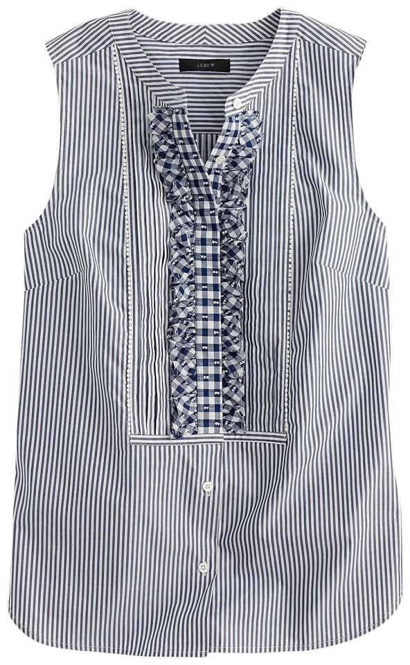da1e7c8631d62 J.Crew Navy Blue White Striped Sleeveless Button Up with Gingham Ruffle Bib  Blouse