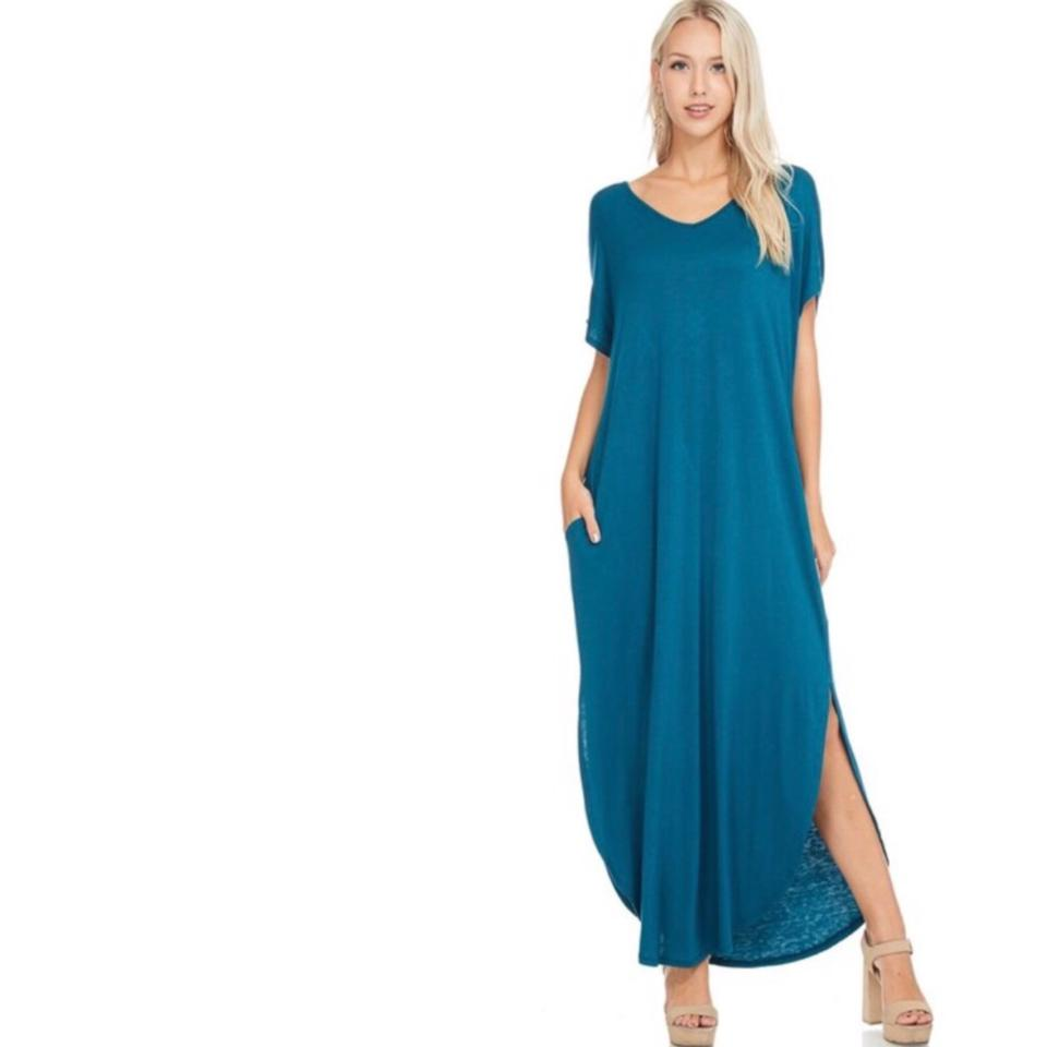 Teal Blue M with Pockets Over Resort Beach Cover Up Long Casual Maxi ...