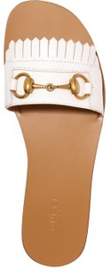 Gucci Gg Leather Slides white Sandals
